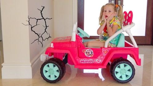 萌娃非要在家里开车,还把墙壁都撞坏了,爸爸只好带她出去玩!