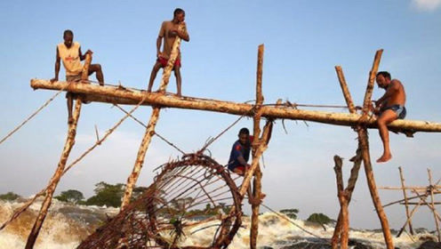 非洲穷人是如何捕鱼的?看到这湍急的河水,网友:我还是饿肚子吧