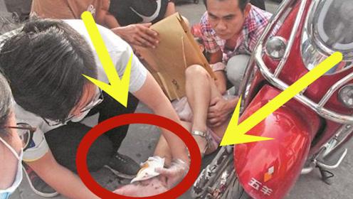 9岁小女孩上学路上,脚不慎卷进电动车前轮,事故原因引深思!