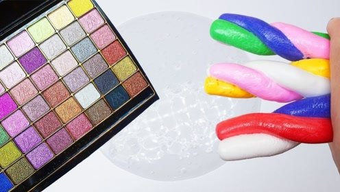 黏土做的麻花糖,搭配彩色眼影,混合各种水晶泥,自制史莱姆