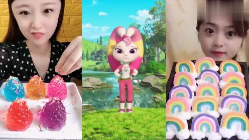 美女直播吃彩色果冻松果、彩虹棉花糖,一口超过瘾,我向往的生活