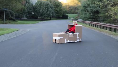 能驾驶的纸箱子!老外用纸壳做汽车,就是看着有点简陋