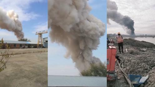 吉林珲春一污水处理厂突发爆炸,现场砰砰声不断,浓烟数十米高