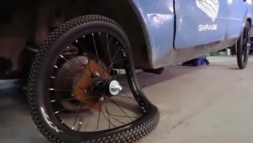 """汽车装上自行车轮胎,一脚油门意外发生,监控拍下""""遭遇""""全过程"""