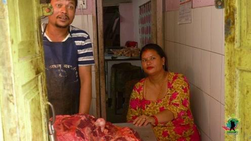 """意外!尼泊尔的牛肉,简直是""""白菜价"""",一天三顿牛肉毫无压力"""