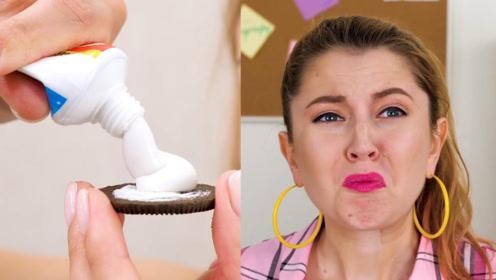 国外小姐姐恶搞吃货同桌,在奥利奥里面加牙膏,看你下次还偷吃!