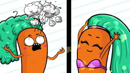 """胡萝卜刚做了新发型,谁知被风吹成""""爆炸头"""",太搞笑了"""