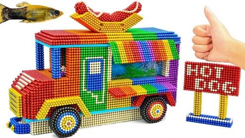 趣味手工制作:磁力珠做露营车水族箱