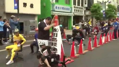 其乐无穷!日本举行办公椅竞速大赛,冠军可获90公斤大米