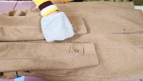 毛呢大衣别用水洗,干洗店老板教我诀窍,几分钟变得干净如新