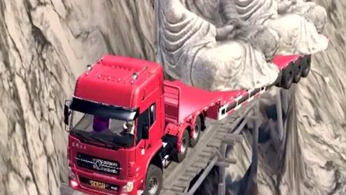 老司机开满载大卡车走简易木桥,拉这么多也敢上路,看着都觉得害怕!
