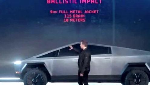 腾讯汽车实拍特斯拉电动皮卡细节 磨砂质感概念轮胎