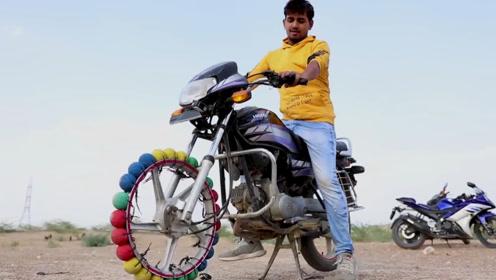 将摩托车前轮换成橡皮球,骑行会是怎样的体验?网友:起飞的节奏