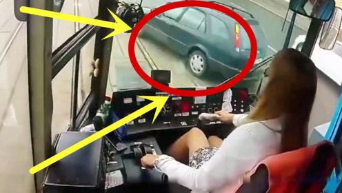 太尴尬了!女司机遇事如此淡定,一看就见过大世面
