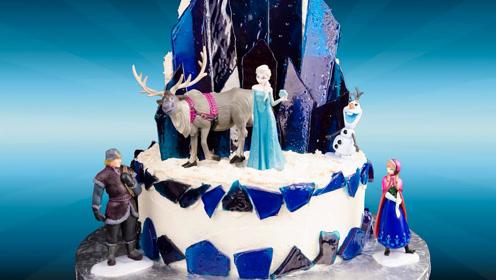 牛人做的《冰雪奇缘》蛋糕太美了,完美还原,像是在看动画片!