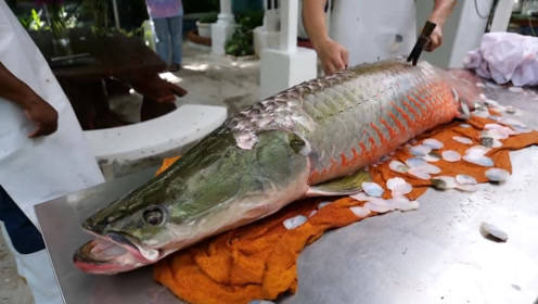 外国人吃鱼也太硬核了,连鱼鳞都要用锤子敲!网友:真会吃!