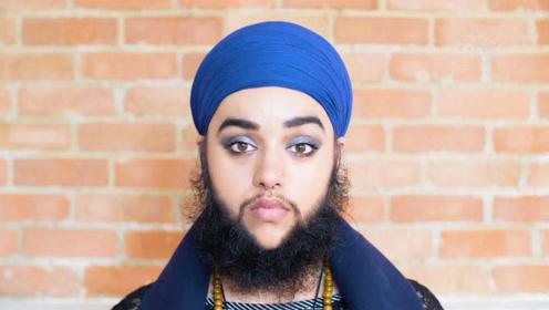 英国女孩长满了络腮胡子,没有想到挺有美感