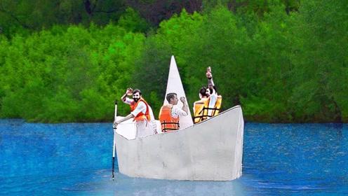 纸船在水中能承载人吗?小伙大胆一试,看完大开眼界!