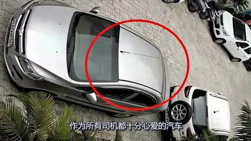 """车顶突然出现一个""""大坑"""",回看监控,才发现真相不简单"""