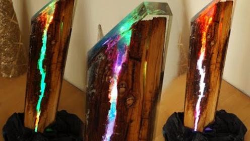 垃圾堆里捡来的朽木能做啥?老外自制精美树脂彩灯,过程让人眼花缭乱