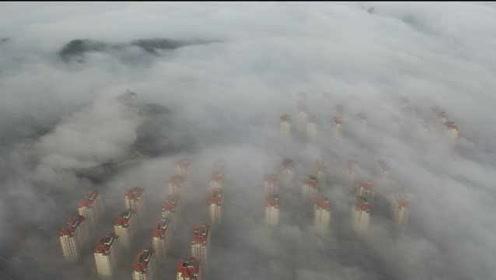 仙境不过如此!雨后贵阳惊现平流雾奇观,站在高楼观云海