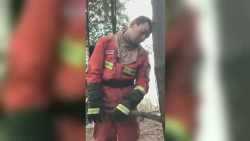 佛山山火消防员连续数日奋战累得靠树睡着 画面令人心疼
