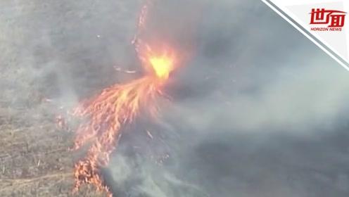航拍:澳大利亚山火持续肆虐 草原燃起震撼火龙卷遮天蔽日