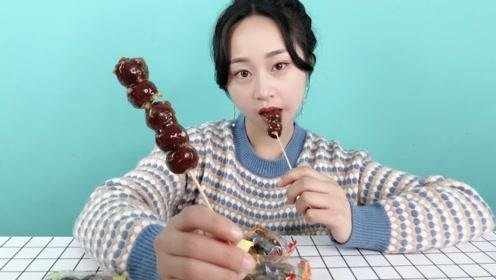 """妹子试吃""""老北京糖葫芦"""",这样的糖葫芦,是没有灵魂的!"""