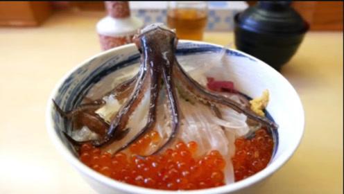 鲜活的小鱿鱼被活活剁开,触须还在抽搐,这吃法也就日本人能干出来