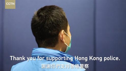 CGTN刘欣采访受伤香港警察