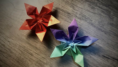 一款漂亮的五角星花折纸,简单无限的重复折叠