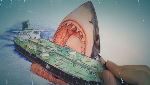 手绘史前巨兽《巨齿鲨》,能和万吨轮船硬刚的只有它了