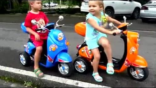 萌宝和哥哥骑车去动物园喂动物,真是太有爱了
