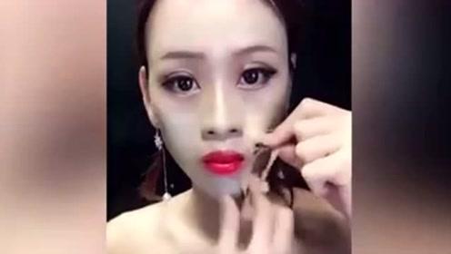 """化妆还是换脸 美女撕下""""脸皮""""秒变大妈 看懵了"""