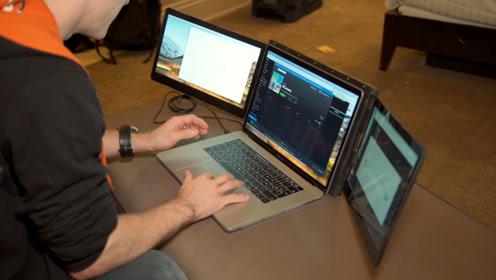 一块屏幕不够用!22岁大学生发明扩展神器,瞬间增加到3块