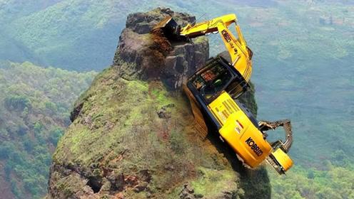 中国在悬崖上施工,挖掘机怎么上去的?网友:蓝翔优秀毕业生