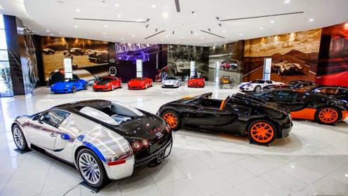 土豪参观豪车车库,布加迪兰博基尼迎宾,劳斯莱斯仅看见的就4辆