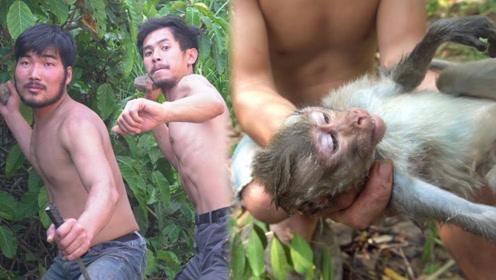 男子野外发现陷阱上的猴子,男子接下来的举动,让网友称赞!