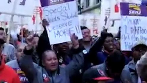 芝加哥掀起了佩罗西的风景线!待遇差引不满工人大罢工 全美相应