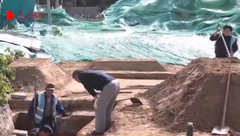 北京14号线景泰站附近发现古墓,实拍考古挖掘现场