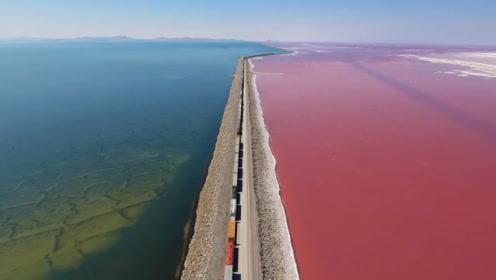 一条铁路分隔出两种颜色,神奇的犹他州大盐湖