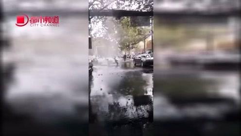 郑州试压第一天暖气管道破裂,市民:看着像喷泉!崩了遍地都是水
