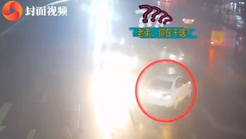 囧!未拉手刹致溜车司机以为车丢了 网友:你可长点心吧!