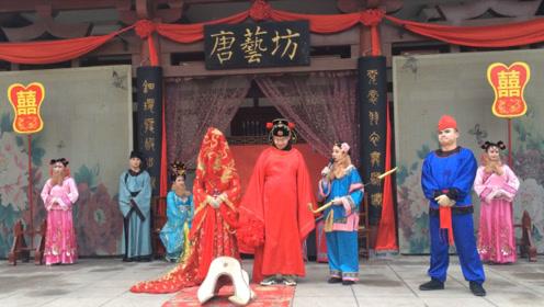 男游客有幸被邀请扮演新郎,体验盛唐婚礼
