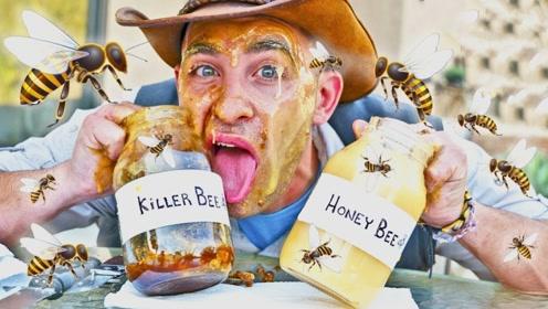 """被""""蜂蜜""""包围是啥感受?国外牛人作死一试,网友:真会玩!"""