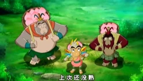 动画:猴子爬树摘大南瓜,却遇到大蛇袭击