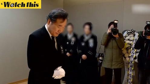 韩国直升机坠海致消防员死亡 总理参加葬礼为其鞠躬安慰遗属