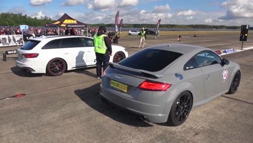 奥迪RS4单挑奥迪TTRS,轿车和跑车差距有多大?眼见为实