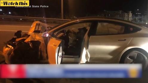 特斯拉自动驾驶再一次失灵撞上警车 事发时司机竟在撸狗