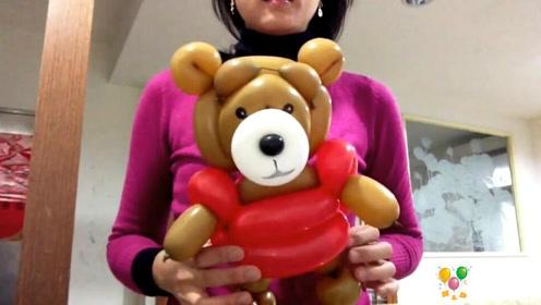 """长条气球编小动物""""泰迪熊""""气球造型教程!"""